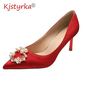 Tempérament élégant Perle Stras Talons Stiletto simples Chaussures Chaussures de mariage rouge robe de soirée en satin Pompes Chaussures pour femmes