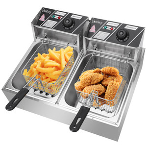 ZOKOP EH82 5000W MAX 110V 12.7QT 12L Stainless Steel Double Cylinder Electric Fryer US Plug