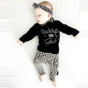 Free Shipping New Arrival Newborn 3PCS Infant Baby Girl Letter T shirt Tops+Leopard Print Pants Set Clothes Z0128