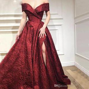 Alta qualità a lungo arabo Borgogna pizzo Prom Dress caftano Dubai abiti di sera convenzionali con spacco abiti de soiree