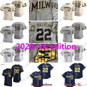 Milwaukee Brewers 2020 Christian Yelich 50º Jersey Ryan Braun Lorenzo Cain Keston Hiura Josh Hader Eric Thames Orlando Arcia Justin Smoak1
