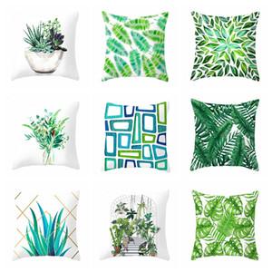 Accueil Canapé Coussin Taie 45 * 45 cm Vert Feuille Simple impression velours Taie d'oreiller Salon lit décor tropical plante Taie VT1502