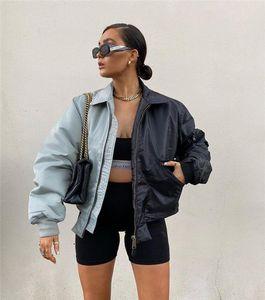 Женский синий с черными куртками пэчворк осень зима ослабенков шеи молнию мухой кармана короткая куртка женщин высокие модные пальто