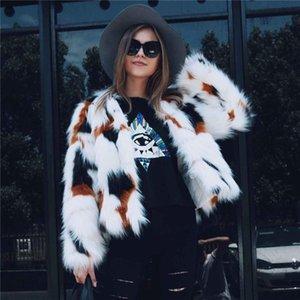 Escudo LANSHIFEI imitación de las mujeres piel mullida capa de la chaqueta de las mujeres de invierno Nueva Girlshort Piel Estilo Parka Señora del club más el tamaño de abrigos de invierno