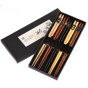 5 paires japonais réutilisables Chopsticks naturel bois de hêtre Pairs de Baguettes chinois dîner Chopsticks 1 Box 22.5cm