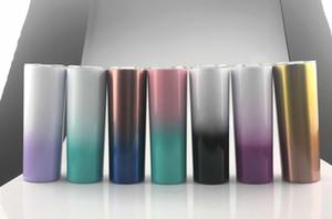 NEW 20oz نحيل بهلوان 20oz تغيير لون لحمي كأس الفولاذ المقاوم للصدأ أكواب متتالية كوب اسطوانة مع القش انزلق غطاء معزول زجاجة المياه