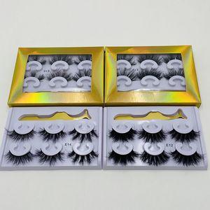 3Pair Handmade cruelty free high quality 100% real luxury 3d mink eyelashes wholesale natural custom eyelashes mink 3d mink lashes