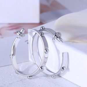 Popular Fashion Real Silver Rose Gold  Gold Plated Huggie Hoop earrings Brand Gold Button Fashion Hot Brand Sale earrings