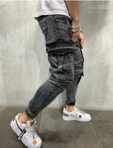Mens Black Designer Jeans Spring Big Pockets Pencil Pants Ripped Biker Jean Trousers 2020