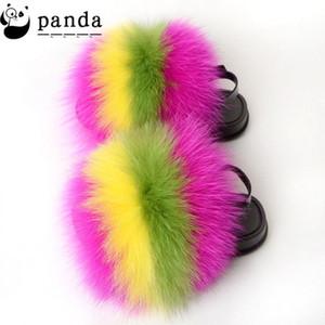 Wholesale яркие цветные дети лисы меховые горки пушистые сандалии меховые тапочки для детей малышей