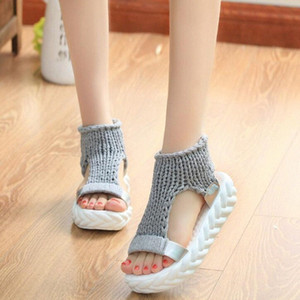 Comfortable Casual Wool Women Summer Sandals Knit Platform Shoes Candy Color Wedges Sandalias For Women High Heel Summer Shoes Geox Sh 2vle#
