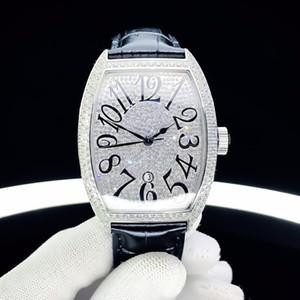 замороженный из часы 46мм мужские часы полный алмазов наручные часы механические автоматические движения наручные часы случай Orologio ди Lusso вино баррель