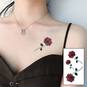 New Fashion Red Color Rose Blossom Flower Waterproof Temporary Tattoo Sticker Sexy Clavicle Simulation Tattoo Tattoos & Body Art