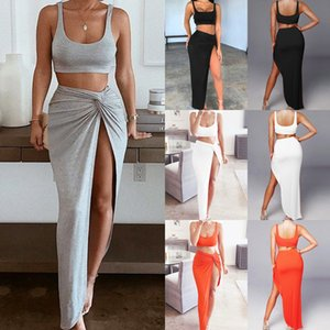 Sexy Party 2 Piece Set Women Crop Top Twist Side Split Long Skirts Matching Sets Club Two Piece Outfits