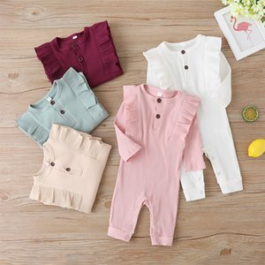 kids clothes girls Solid romper newborn infant ruffle Flying sleeve Jumpsuits 2020 autumn baby Climbing clothes