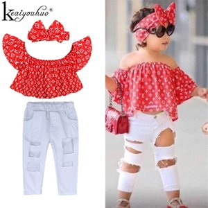 2020 Baby Girl Clothes Summer Tracksuit For Children Clothing Girls Sets T-shirt+Broken Hole Jeans Kids Clothes 1 2 3 4 5 6 Year 0927