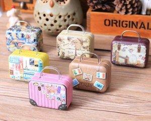 무료 배송 대륙 미니 주석 상자 복고풍 가방 핸드백 작은 직사각형 사탕 상자 작은 주석 컨테이너
