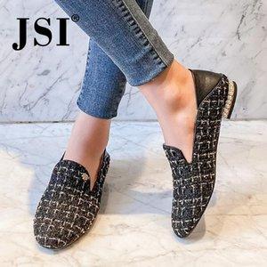 JSI Slip-On Fashion Frauen-Ebene Metall Dekoration runden Zehe Bequeme Handgemachte Loafers Schuhe Büro Concise Damen Wohnungen JO472