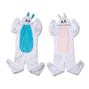 Flannel cartoon one-piece couple White Rabbit pajamas Pink Blue Rabbit animal pajamas toilet version home wear