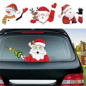سيارة ممسحة عيد الميلاد ملصقات سانتا كلوز إلك ثلج 3D PVC يلوحون السيارات ملصقات عيد الميلاد ممسحة النافذة الشارات