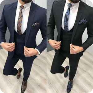 Trajes apuesto pico solapa esmoquin de la boda del ajustado para los hombres padrinos de boda traje de tres piezas de baile juegos formales (chaqueta + pantalones + chaleco + Tie) W303