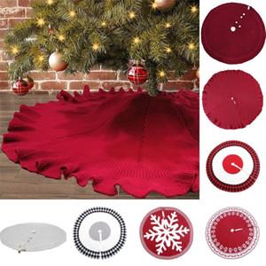 Falda de punto árbol de Navidad de 48 pulgadas Borgoña punto grueso de Navidad decoración del árbol de Navidad Año Nuevo partido de los ornamentos FWD760
