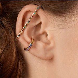 3PC SET Rainbow Crystal Ear Cuff Women Rhinestone Clip Earrings for Women Charms Jewelry Femme Circle Earring Brincos Fashion