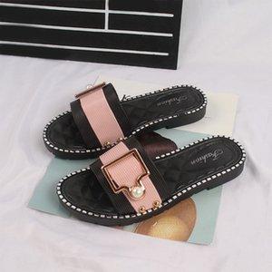 Scarpe Donna Pantofole spiaggia di estate PU Pearl signore diapositive di cristallo piatto Zapatos 2020 Moda Femminile Comfort Non Slip Calzature Nuovo