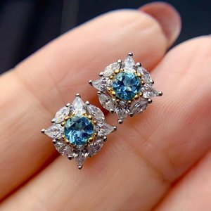 Elegant Exquisite Square round Natural blue topaz stud earrings Natural gemstone earrings S925 silver women girl gift jewelry