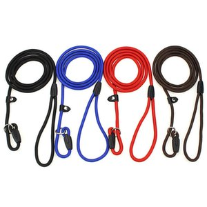 Pet Dog Nylon Adjustable Collar Training Loop Slip Leashes Rope Lead Size S M L Red Blue Black Coffee Color