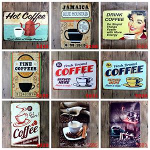 Segno del caffè del metallo dell'annata Targa in metallo decorazione della parete della placca di metallo d'epoca per la cucina Coffee Bar Cafe retrò in metallo Poster Ferro Pittura DHB1616