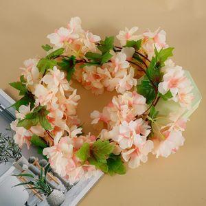 1 Pcs 2.3M Artificial Flowers Cherry Blossom Vine DIY Rattan Garland Flowers Vine Wedding Party Home Garden Hanging Decoration