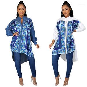 Femminile Abbigliamento autunno Donna Designer Dress Flora stampato irregolare collare del basamento lungo Mini Fashion Dress manica