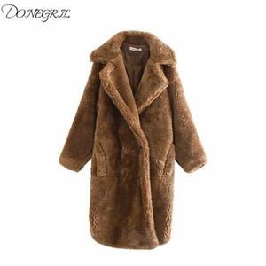 2020 New Winter Wool Blend Teddy Bear Coat Coats Women Outerwear Female Jacket Thicken Warm Loose Long Overcoat