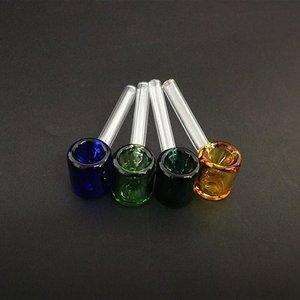 классические стеклянная карманная труба молотка формы курительной трубка 3,26 дюйма мини Galss труба прямой трубка многоцветный выбор PaKp #
