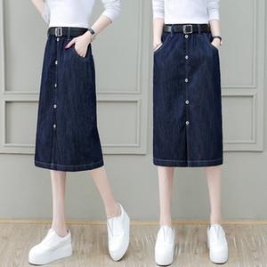 kadınlar 2020 yeni yüksek bel skirtDenim orta uzunluktaki tek adımlı ALINE etek zayıflama kot skirtcovering jameel kalça etek için 9BuGh S062411