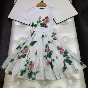 2020 ragazze del cotone dei capretti estate insiemi floreali di disegno del fiore pannelli esterni del tutu set