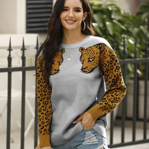 Leopard Arm Knit Womens Sweater O Neck Pattern Long Sleeve Jumper Sweaters For Female 2020 Autumn Winter Casual Pullover Ladies