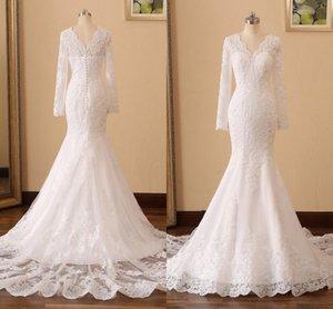 Custom X Small Mermaid Wedding Dress Lace 2021 With Applique Long Sleeves V-neck V Open Back Beaded Vestidos De Novia Bridal Party Reception