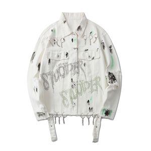 Lettre Graffiti effiloché Imprimer Jeans Veste hommes et femmes Oversize Streetwear Veste coupe-vent Bomber Hip Hop Denim Coat