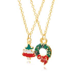 Nuova goccia di olio in lega collana Handmade di Natale di vendita caldo collana di accessori di spettacolo delle donne pendente dell'albero di Natale
