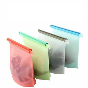 1000ml reutilizável Silicone Conservação de Alimentos Bag Frigorífico Food Storage Container Congelamento Aquecimento Para Kitchen Fresh Food Bag OOA8421