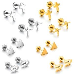مسمار بسيط القلب هندسية الأذن ترصيع صفعة للنساء العصرية الكلاسيكية الفولاذ المقاوم للصدأ الصليب مثلث القرط برغي الظهر المجوهرات