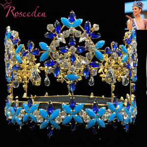 Baroque pleine ronde Miss Monde Couronne Tiara Avec Blue Crystal strass Princesse Reine Tiara RE3021 Y200807