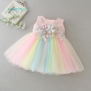 HAPPYPLUS Arcobaleno ragazza abiti Baby Party and Wedding 2 ° 1 ° compleanno Abiti per ragazze Fancy Dress Frock per un anno di età bambino LJ200827