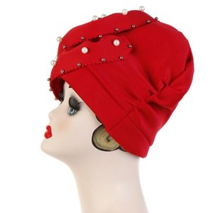 Larger Flower Head Cover Space Cotton Nail Pearls Solid Head Wrap Ladies Party Cap Turban Bonnet for Women TB-122C