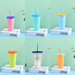 Cambio de color puro Copas con tapa redonda de plástico PP Vaso Claro tubos de succión taza reutilizable Detección de la temperatura de ejercicio 5HB B2