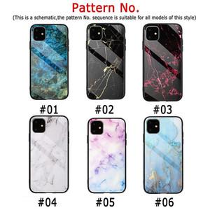Mode Marmor Ausgeglichenes Glas zurück Shell für iphone 11 pro max Stoß- Schild Handy-Schutz für iphone 6 7 8 XS MAX XR-Kasten Cov