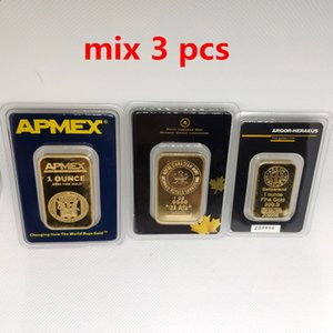 1OZ Argor Heraeus Swizerland las barras de oro RCM APMEX 1 Troy onza plateó la barra regalos de visita del metal de la insignia no magnético MIX 3pcs el envío libre