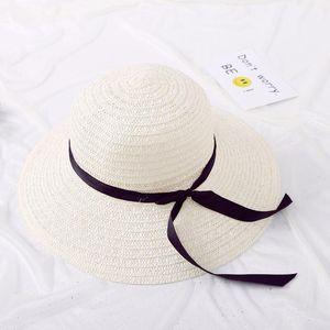 Pieghevole Ladies' di jiangxihuitian modo di paglia di estate della protezione delle donne grande bordo largo nastro bowBeach femminile Cappello per il sole MV71